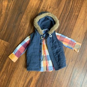 Eskimo toddler hooded vest & button down